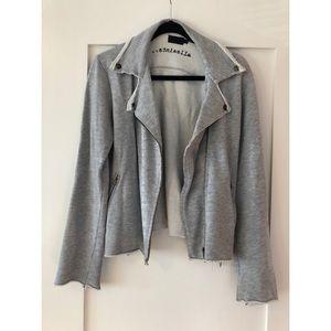 All Saints grey cotton jersey Moto jacket - sz L
